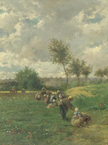 Federico Rossano (Italian, 1835-1912) Working the fields