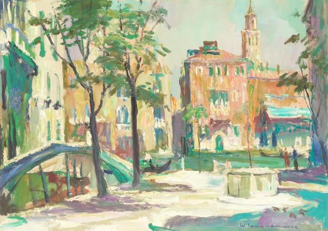 Walter Langhammer (Austrian, 1905-1977) Campo San Vio, Venezia