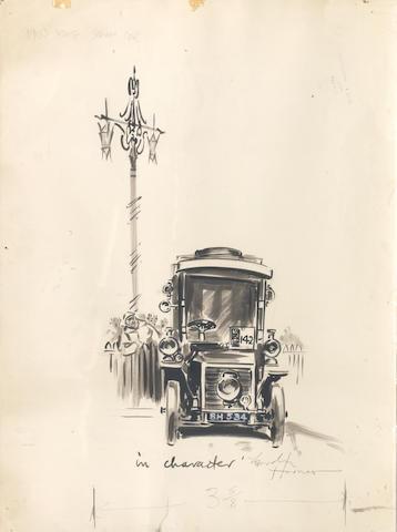 Gordon Horner (British, 1915-2006), 'London to Brighton Run 1955 - In Character', an original artwork for The Autocar,