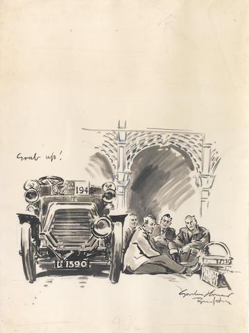 Gordon Horner (British, 1915-2006), 'London to Brighton Run 1955 - Grub Up!', an original artwork for The Autocar,