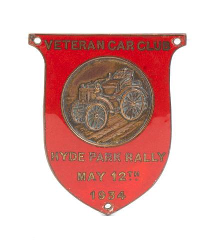 A Veteran Car Club 1934 Hyde Park Rally enamel badge,