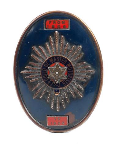 A Guild of Master Motorists member's badge,