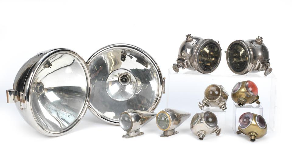 A pair of Edwardian Bleriot Phi headlamps,   ((2))