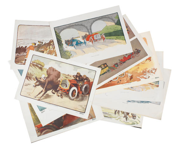 Eleven prints published as supplements to Motor magazine, American, circa 1909,  ((11))