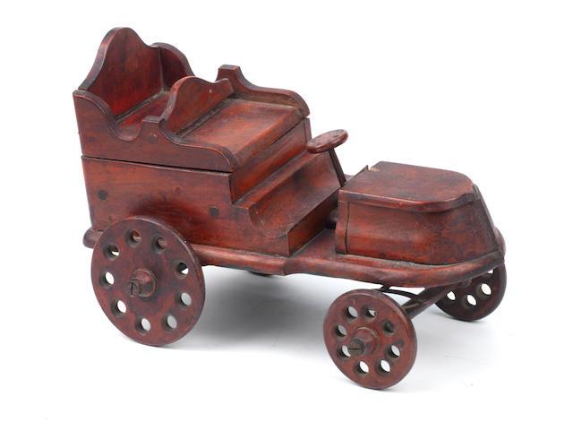 An early car novelty trinket box, circa 1898,