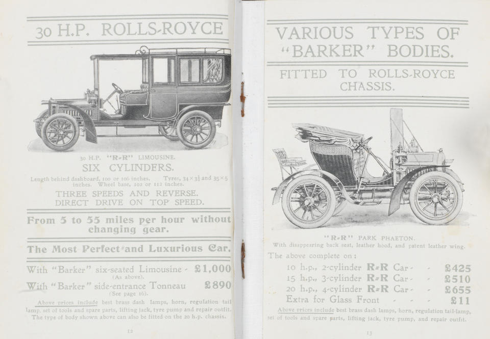 A rare and early C.S. Rolls & Company 'Rolls-Royce' sales catalogue, produced for the February 1905 Olympia show,