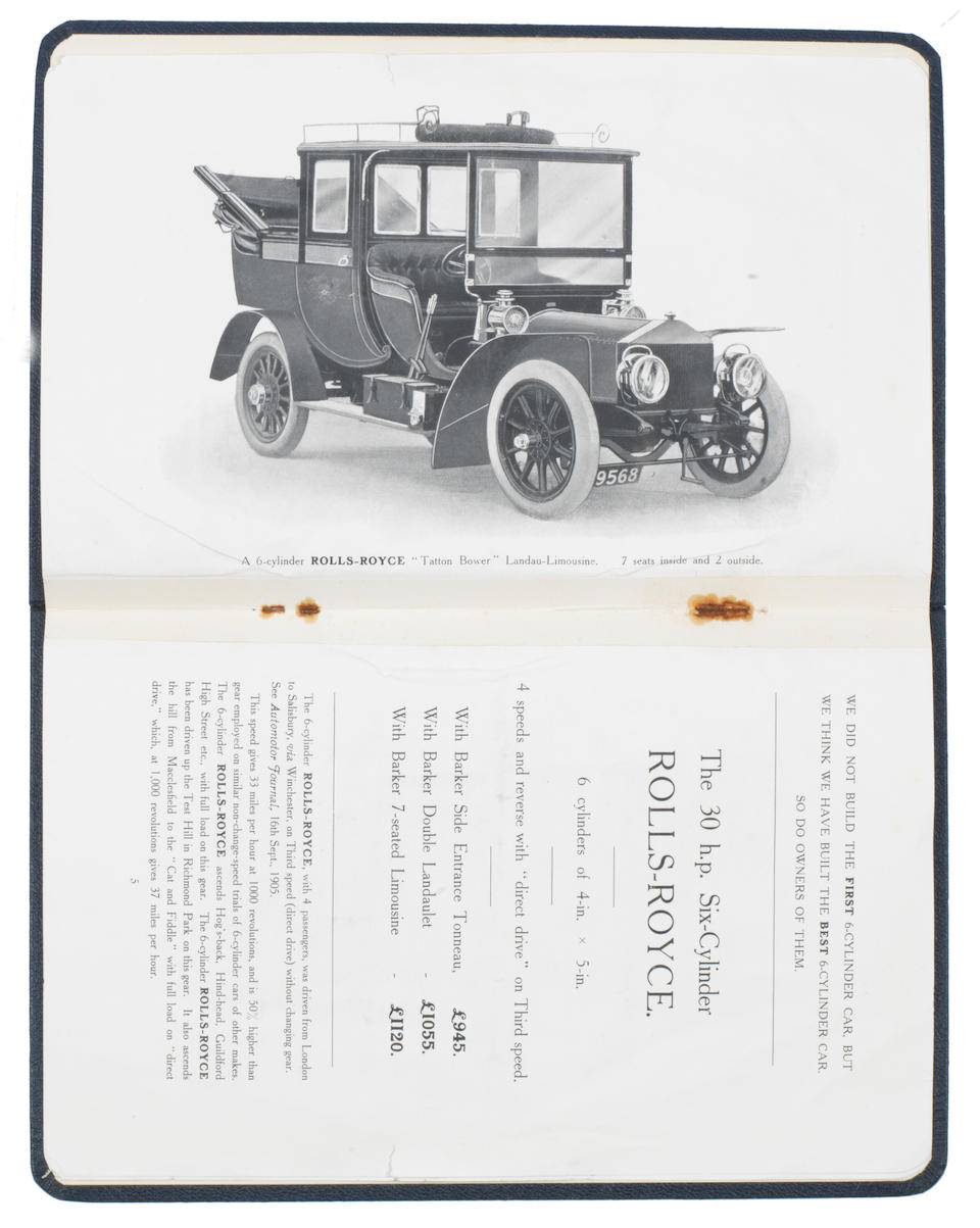 A rare 1906 types 'The Silent All British Rolls-Royce Cars' sales brochure for C.S. Rolls & Co,   ((2))