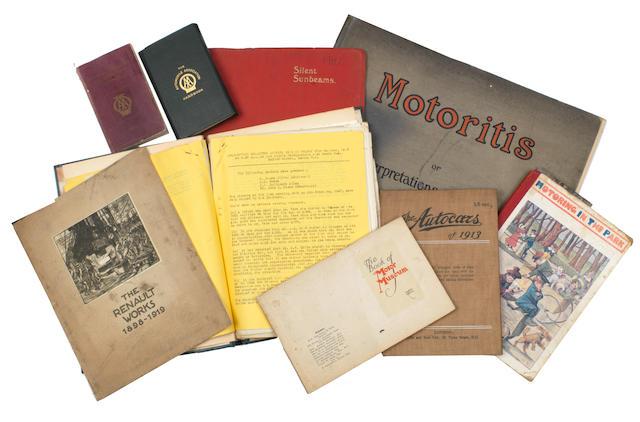 Assorted Veteran motoring literature and ephemera,  ((Qty))