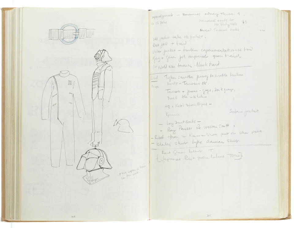 Star Wars Episode IV - A New Hope: John Mollo's personal sketchbook Notes & Sketches 1, a custom bound volume containing important and detailed working sketches and costume designs for many of the characters from the film Star Wars, together with production diary entries, meeting notes, time-lines and costume descriptions, the majority in black ink, some with colour; additionally the volume contains working for numerous military uniform designs for books, commercials and additional projects Mollo worked on during this time frame, Lucasfilm / Twentieth Century Fox, April 1975 - July 1976,