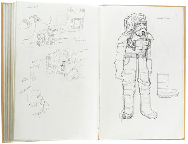 Star Wars Episode V – The Empire Strikes Back & Alien: John Mollo's personal sketch book Notes & Sketches 3, a custom bound volume containing important working sketches and costume designs for many of the characters from the original trilogy, together with production diary entries, meeting notes, time-lines and costume descriptions, the majority in black ink, some with colour; additionally the volume contains designs for Ridley Scott's Alien (1979) and Douglas Hickox's Zulu Dawn (1979) as well as designs for books, commercials and additional projects Mollo worked on during this time frame, Lucasfilm, January 1978 - October 1979,