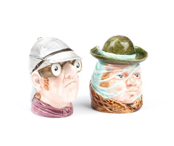 Two Peko-style motoring ceramic tobacco humidors, German,  ((2))