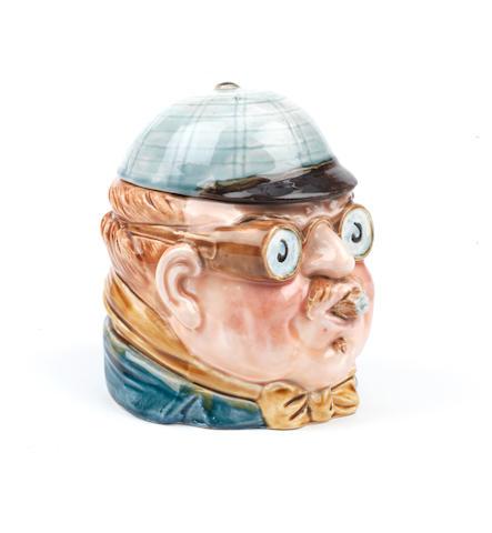 A large Peko-style 'Motorist' ceramic tobacco humidor, German,