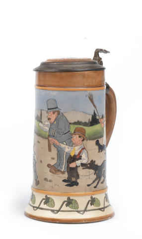 An early motoring-themed ceramic half-litre stein, German,