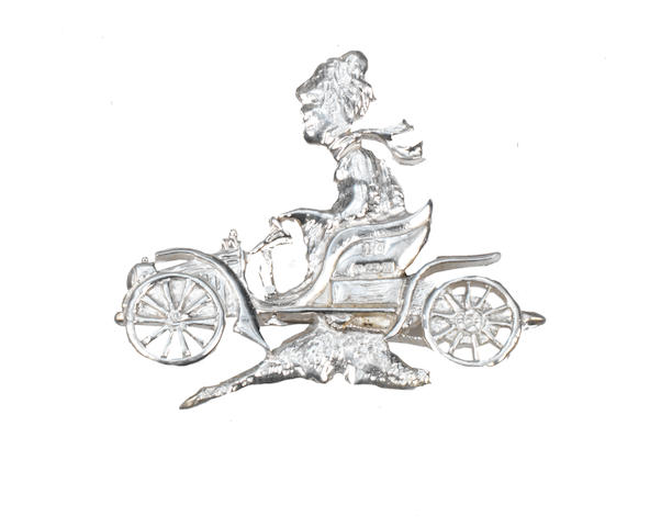 A sterling silver brooch in the form of a Veteran car, by Hugh Crawshaw of Sheffield, 1994,