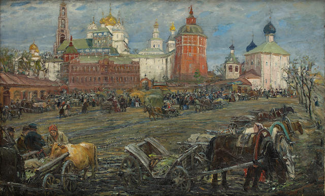 Michail Vasilievitch Boskin (Russian, 1875-1930) A view of the Holy Trinity-St. Sergius Lavra