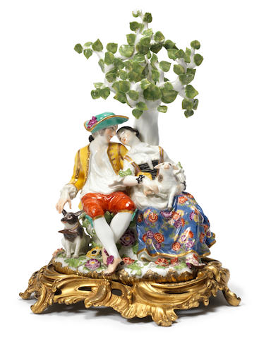 A Meissen ormolu-mounted group of lovers, circa 1740-45
