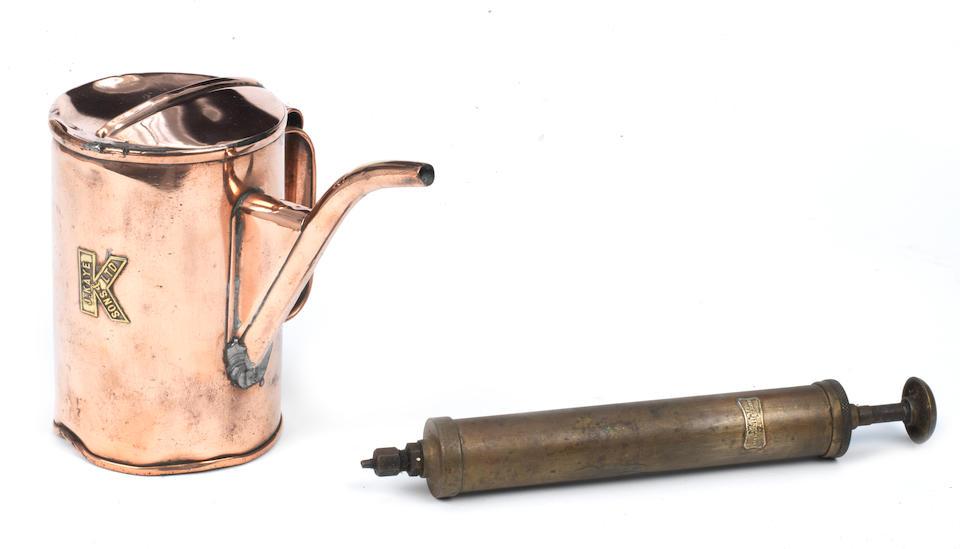 A Panhard & Levassor brass oil syringe, French,