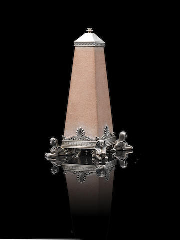 A silver-mounted sandstone table lighterFabergé, Julius Rappaport, St. Petersburg, circa 1896, scratched inventory number 3961