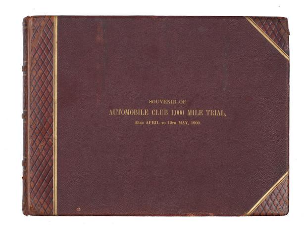 An important Argent Archer 'Souvenir of Automobile Club 1,000 Mile Trial' photograph album, 1900,