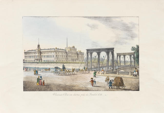 A group of nine lithographic views of St. Petersburg  each: 34 x 51cm (13 3/8 x 20 1/16in). unframed ((9))