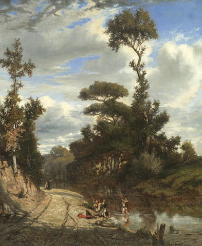 Attributed to Émile (Charles Joseph) Loubon (French, 1809-1863) Landscape with figures fishing
