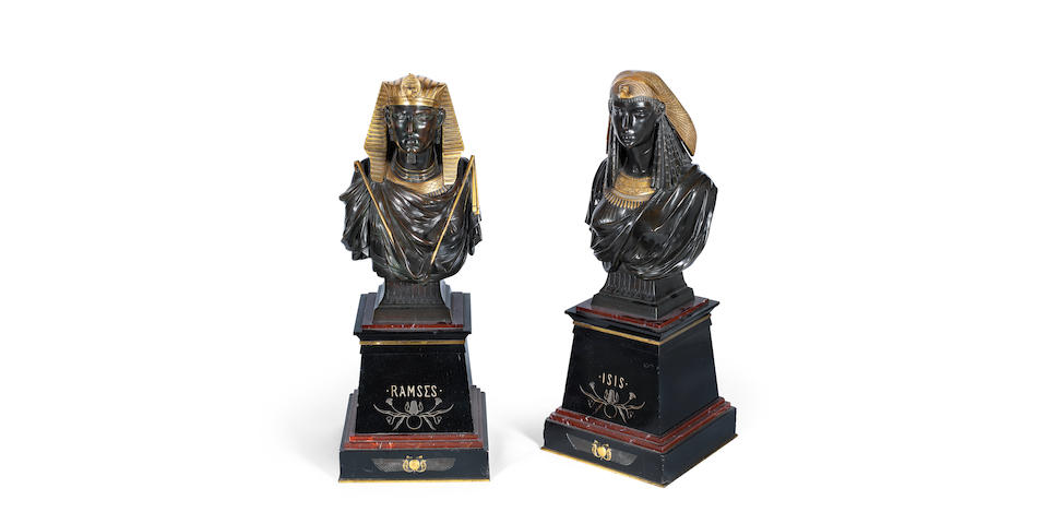 After Pierre-Eugène-Émile Hébert (French, 1828-1893): A pair of gilt and patinated bronze busts of 'Isis' and 'Ramses' probably retailed by George Servant  (2)