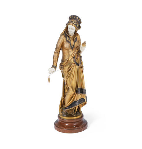 Albert-Ernest Carrier-Belleuse (French, 1824-1887); A Gilt-Bronze and Ivory Figural Sculpture titled 'Graziella'  SIGNED IN CAST 'A.CARRIER-BELLEUSE'; CIRCA 1900