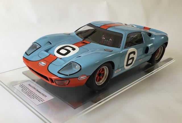 A fine 1:8 scale scratchbuilt model of the 1969 Le Mans winning Ford GT40 by Javan Smith