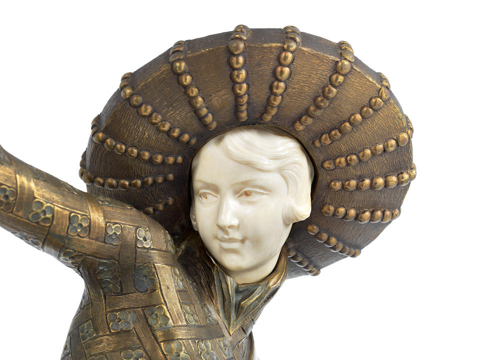 C.Mirval (French, active 1920s); 'Sombrero Dancer' a Bronze and Carved Ivory Figural Sculpture SIGNED IN CAST 'C.MIRVAL'; CIRCA 1925
