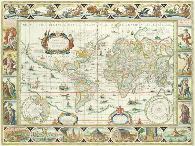 Blaeu World Map.Bonhams World Map Blaeu Willam Nova Totius Terrarum Orbis