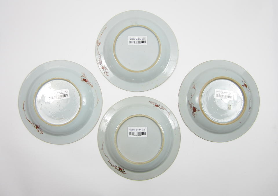 A set of four famille rose plates, together with four more plates 18th century (8)