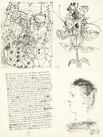 PICASSO (PABLO) [Poèmes et lithographies], NUMBER 46 OF 50 COPIES, from an overall edition of 52 copies, SIGNED BY PICASSO on the justification leaf, [Paris, Galerie Louise Leiris, 1954]