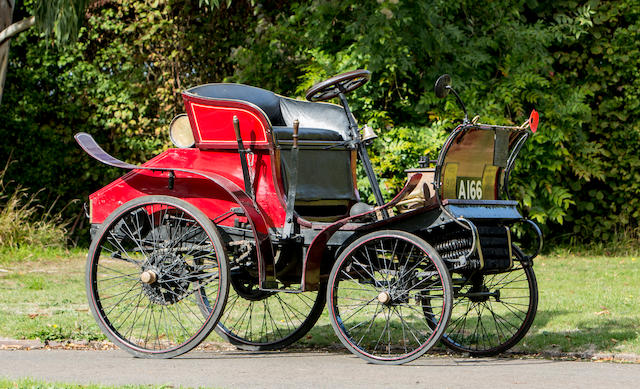 """Oldest of two surviving Hyler Whyte designs,1900 """"English Mechanic"""" 3HP Two Seater  Chassis no. none"""