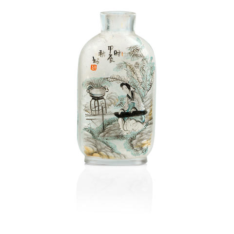 An inside-painted snuff bottle Dated by inscription to 1904