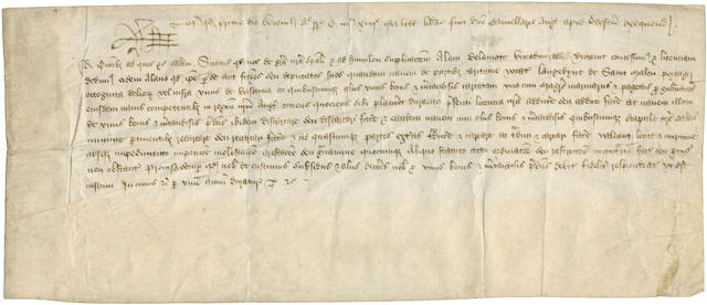 "EDWARD IV Document signed (""RE"" at head), in Latin, licensing Alain de la Motte, Vice Admiral of Brittany (""Alani Delamtoe viceadmiralli Britannie""), his factors or deputies to convey for a period of one year on a certain ship called ""Langevyne de Saint Malou"" from the ports of Brittany eighty barrels or less of Gascon wines, Westminster, 1 December 1474"
