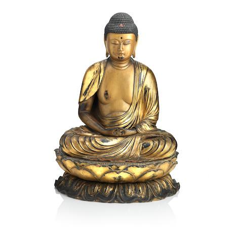 A large lacquered figure of the Amida Buddha 19th century (3)