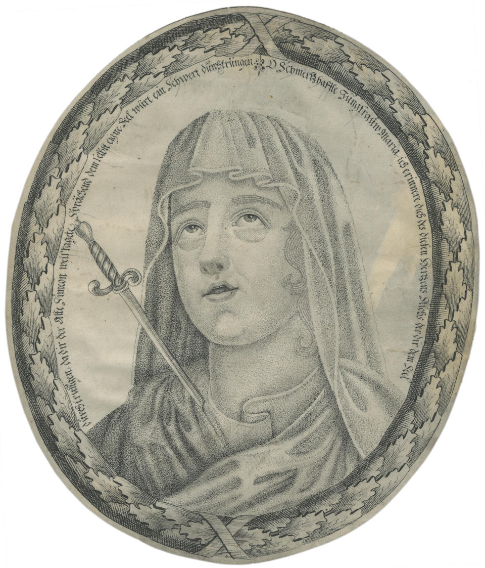 PÜCHLER (JOHANN MICHAEL) Ecce Homo; Virgin Mary, A PAIR OF PEN AND INK MICROGRAPHIC, ON VELLUM, [c.1700] (2)