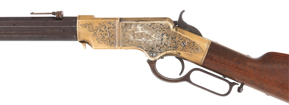 An engraved .44 (R.F.) 'Henry Model 1860' lever-action rifle by New Haven Arms Company, no. 10852 (circa 1865)