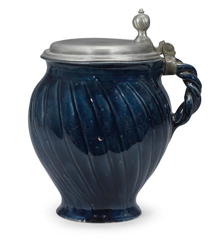 A Bunzlau (Silesia) blue-glazed pewter-mounted stoneware jug 17th Century
