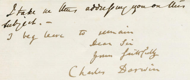 """DARWIN (CHARLES) Letter signed and subscribed (""""I beg leave to remain Dear Sir yours faithfully Charles Darwin""""), the text in the hand of his son George, Down, 20 and 28 January 1874"""