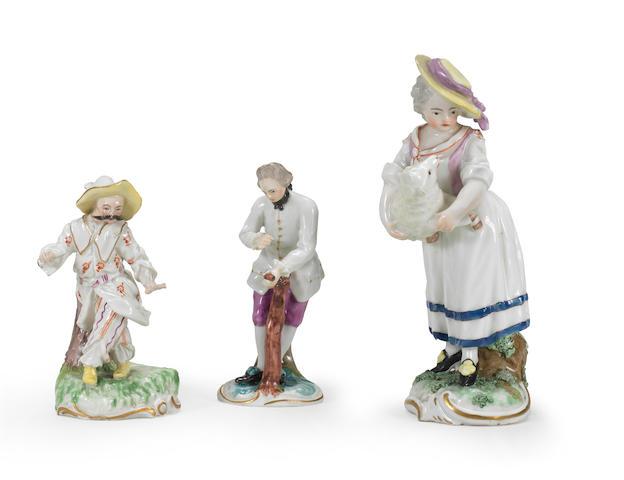 Three Frankenthal figures, circa 1770-1777