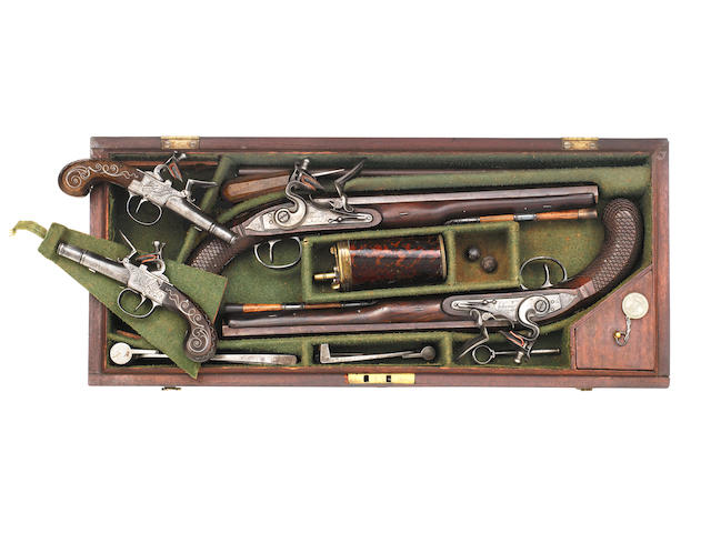 An Unusual Cased Set Of Four Flintlock Pistols Comprising A Pair Of 24-Bore Flintlock Duelling Pistols, And A Contemporary Pair Of 120-Bore Liège Box-Lock Pocket Pistols