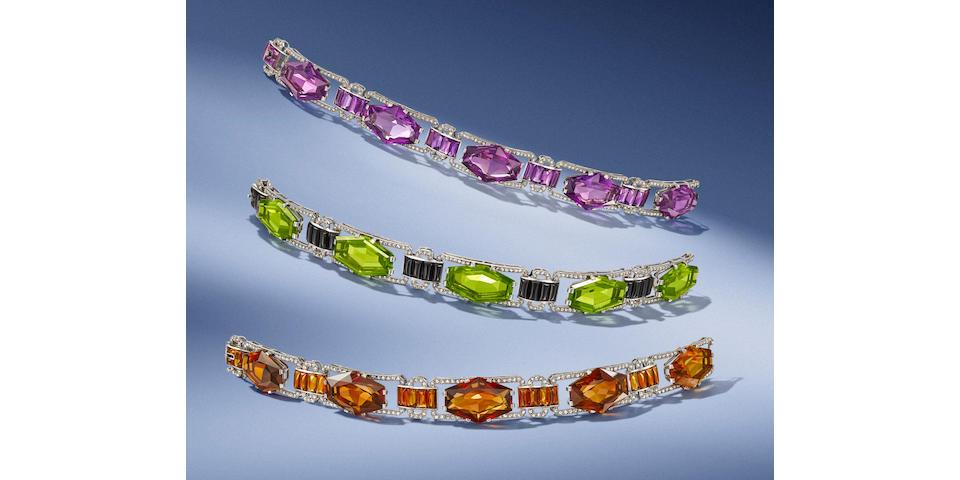 Three unusual gem-set bracelets, by Van Cleef & Arpels, (3)
