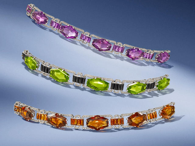 Three unusual gem-set bracelets, by Van Cleef & Arpels, (3)