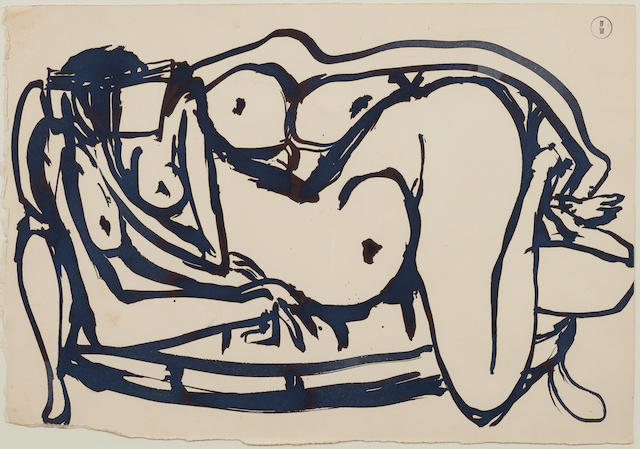 Brett Whiteley (1939-1992) (Woman on a Sofa Reading a Book), c.1980