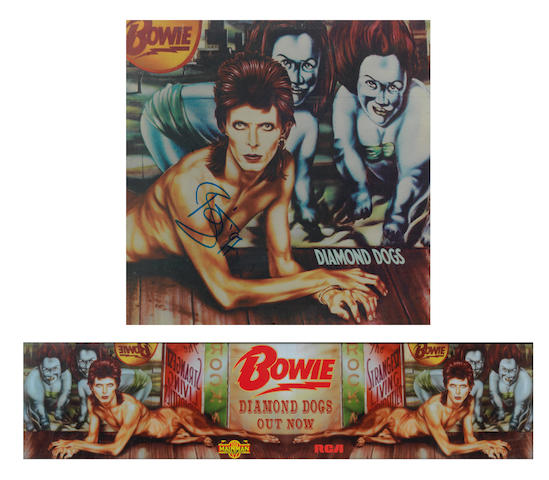 David Bowie: An autographed 'Diamond Dogs' album cover and promo banner, 2
