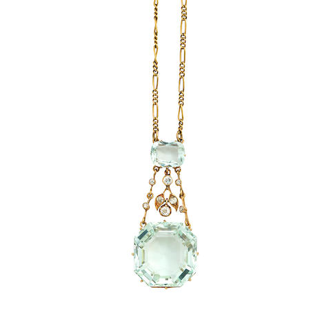 An aquamarine and diamond necklace