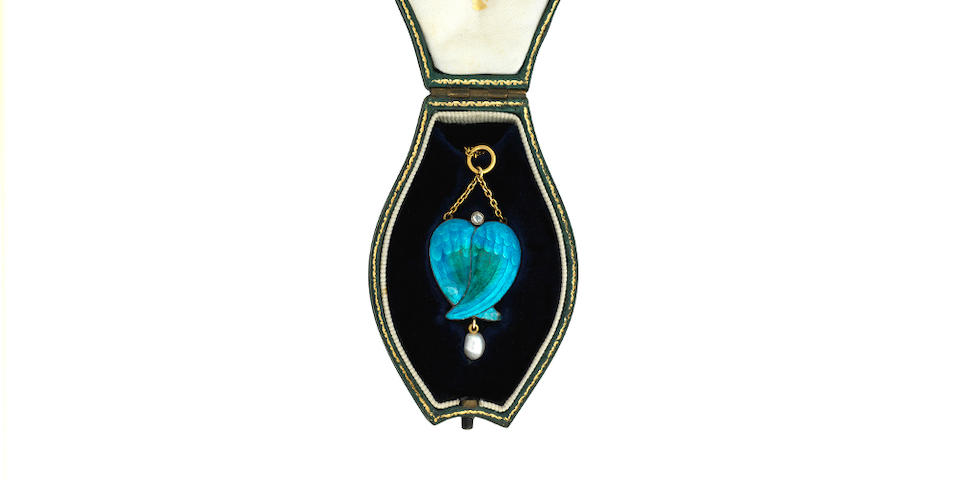 An enamel and freshwater pearl pendant, Child & Child, circa 1890