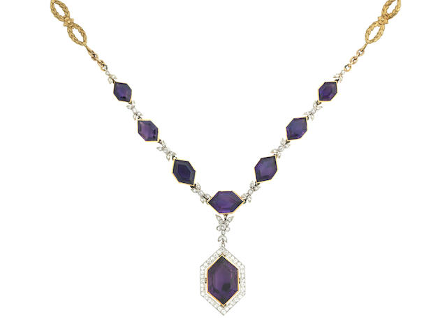 An amethyst and diamond pendant necklace, composite