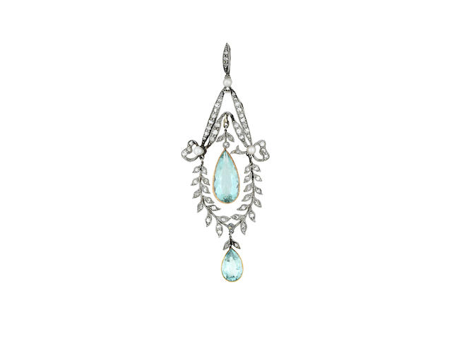 An aquamarine, seed-pearl and diamond pendant